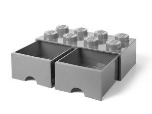 lego 5005720 aufbewahrungsstein mit 8 noppen und schubfachern in steingrau