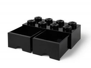 lego 5006248 aufbewahrungsstein mit 8 noppen und schubfachern in schwarz